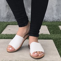 Ohana Slip On Faux Leather White Flat Sandals