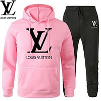LV Louis Vuitton Classic printed letter logo hooded sweatshirt trousers two-piece suit