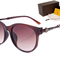LV Mirrored Flat Lenses Street Fashion Metal Frame Women Sunglasses [2974244744]