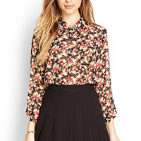 FOREVER 21 Nature-Inspired Floral Shirt Navy/Rust