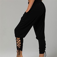 Women Laced Up Capris Harem Pants
