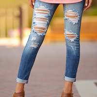 MACHINE Distressed Crop Skinny Jeans - Cara Wash