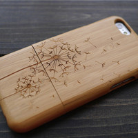 Cherry Wood Dandelion iPhone 6 6s Case Cover , Wooden iPhone 6 6s Case Holder , Natural Wood iPhone 6 6s Protector Case , Christmas Gift