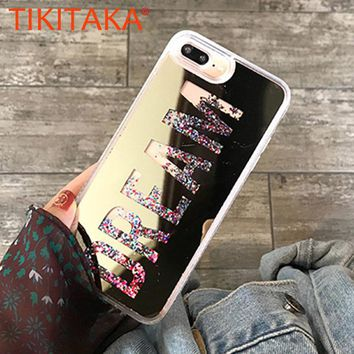 Fashion Dynamic Quicksand Glitter Powder Case For iphone 8 7 6 6s Plus Fundas Slim Hard Clear Mirror Cover Soft Edge Phone Cases