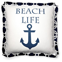French Laundry Home, Beach Life 20x20 Cotton Pillow, Navy, Decorative Pillows