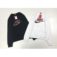 NIKE New fashion letter hook print couple long sleeve top sweater