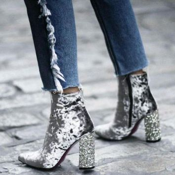 Crushed Velvet Ankle Boots with Glitter Heels 2 Colors
