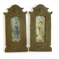 antique vintage Japanese geisha art prints / wooden frames / wall hangings