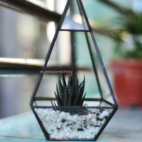 Clear Tall Geometric 3D shape Stained Glass Container