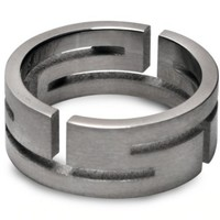 Steel Aztec Cutout Mens Ring
