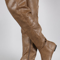 Qupid Patched Pointy Toe Over-The-Knee Flat Boots