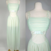 1950s green negligee, mint green sheer chiffon ruched long maxi night gown slip lingerie w/ bow Large, 10, Munbingwear