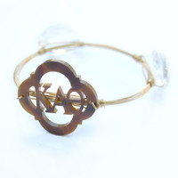 gold sorority wire wrapped bangle with tortoise acrylic letters - customize it!