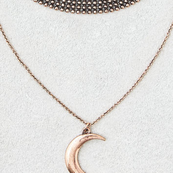 AEO Chain Choker + Moon Charm Necklace, Gold