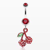 zzz-Vibrant Cherry Dice Belly Ring