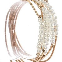 Mini Pearl Charm 7 Pc Stretch Coil Wire Braclet