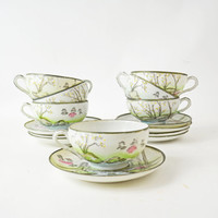 Japanese Tea Cup and Saucer Set, Antique Oriental Cups and Saucers, Vintage Hand Painted Tea Cup Set of 7, Japanese Art, Japanese Porcelain