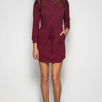 Wine Long Sleeve Dress with Sequins Shoulder and Waist Tie