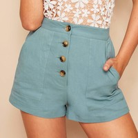 Button Fly Patch Pocket Shorts