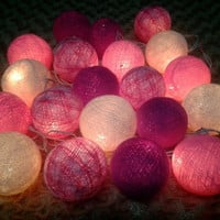 20 x Pinkish Tone Cotton Ball  string light for home decorations.