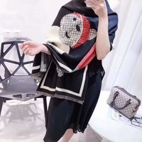 Woman Casual Fashion Classic Comfortable Double Sided Bear Pattern Scarf