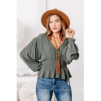Staying Solid Smocked Waist Olive Top