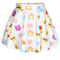 White Emoji Print High-Waist Skater Mini Skirt