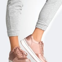 Satin Lace Up Sneakers