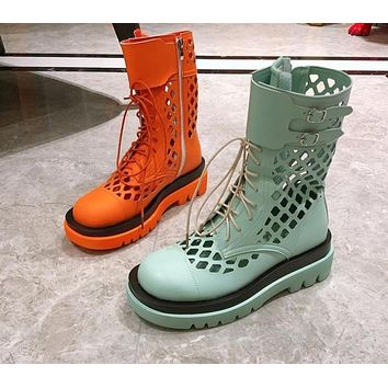 Women Fashion Candy Color Cut Out Ankle Boots