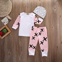 Newborn Baby Girls Clothes Long Sleeve T Shirt Tops Pants Leggings Hat Outfits G