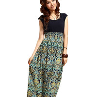 Promotion Dress Women Lady Dresses Flower Printed Bohemia Sleeveless Maxi Long Dress Casual office OL dress Vestido CF