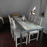 Hand Crafted Reclaimed Wood & Steel Dining Table - Handmade Industrial KitchenTable