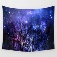 Black Trees purple blue SPACE Wall Tapestry by 2sweet4words Designs
