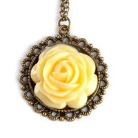 Babyla New Korea Retro Vintage Palace Yellow Rose Flower Pendant Long Chain Necklace