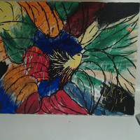"Orginal Abstract Art Acrylic Painting Handmade on Wrapped Canvas with Wood Frame""Birds of a feather"" 20x16"""