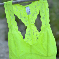 Lace Bralette Top - Neon Yellow