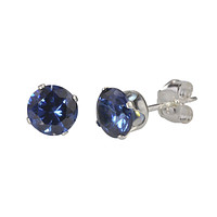 Sterling Silver Earrings Blue Sapphire September Birthstone Studs Round Prong