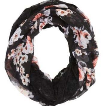 Navy Combo Lace & Woven Floral Infinity Scarf by Charlotte Russe