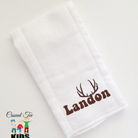 Baby Burp Cloth Embroidered Baby's Name with Deer Antlers Personalized Hunting Spit Up Cloth Custom Burp Cloth