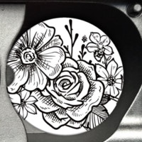 Black and White Florals Car Coaster