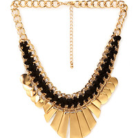 FOREVER 21 Braided Fan Bib Necklace Gold/Black One