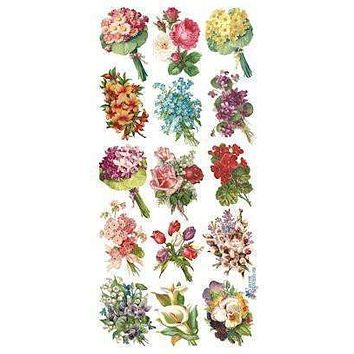 30 Bouquet Victorian Floral 2 Sheets of Stickers