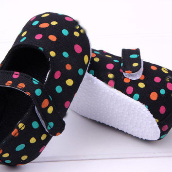 Baby Girls First Walkers Shoes Colorful Polka Dot Toddler Soft Sole Kids Children's infant Shoe 0-12 Months SM6