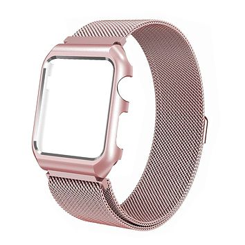 Stainless Steel Mesh Milanese Loop Compatible for Apple Watch Band with Case 38mm, Adjustable Magnetic Closure Replacement Wristband iWatch Band for Apple Watch Series 3 2 1 - Rose Gold