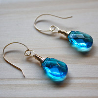 Gold Wire Wrapped Blue Topaz Sapphire Colored Celestial Crystal Earrings