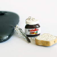 20OFF SALE Nutella Miniature polymer clay Anti dust plug by Zoozim