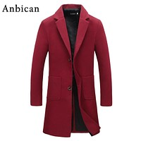 Anbican Fashion Long Trench Coat Men 2017 Spring Brand New Single Breasted Mens Overcoat Red and Black Slim Korean Trench Coats