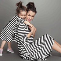 Mommy and Me Black and White Striped Tunic Dress