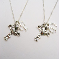 Frog Necklace Set Initials Necklace Customized  Best Friends Gifts Mother Daughter Necklace Frog Jewelry Personalized Matching Necklaces