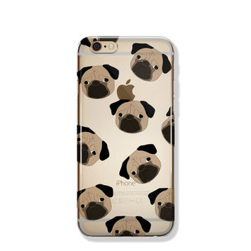 Pug iPhone 6 Case Animal Clear iPhone 6s Case Clear iPhone 6 Case iPhone 5 SE Case iPhone 6s Plus Case Soft Silicone iPhone Case No: 100